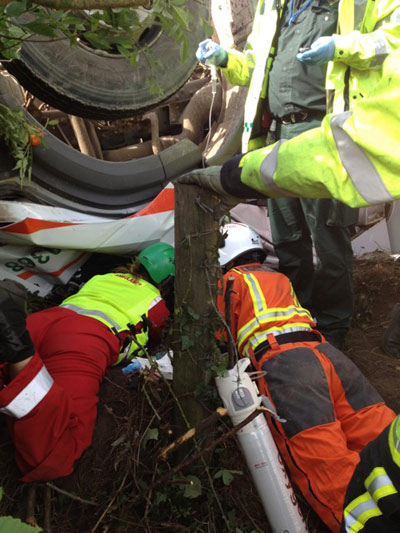 Paramedic and BASICS SW doctor attend a trapped lorry driver